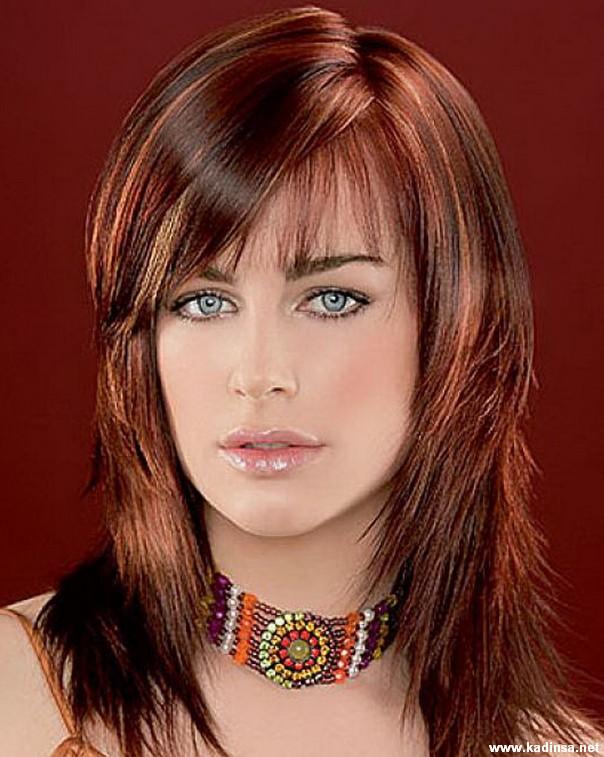 Bakır Renkli Kahkül Saç Modelleri