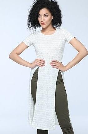 Beyaz parçalı uzun kısa kollu tunik modelleri
