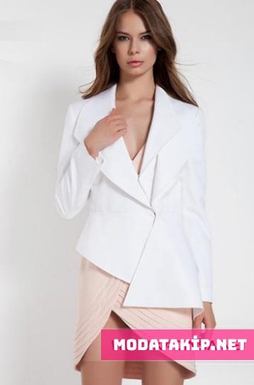 Beyaz şık bayan ceket modelleri