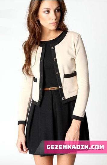 Krem siyah bayan ceket modelleri