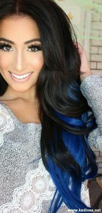 Mavi Renk Balyaj Saç Modelleri Kadın Moda Sitesi